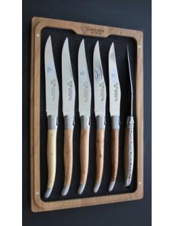 12 Laguiole En Aubrac Fransk trä biff knivar